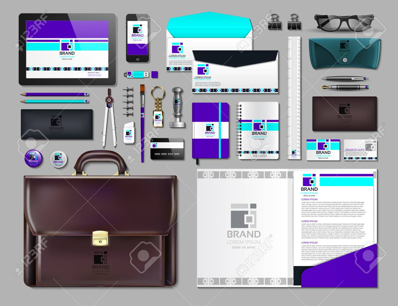 Business corporate identity items set. Vector working articles portofolio, glasses, phone, tablet, maps with brand logos. Work Stuff Stationery 3d realistic collection - 81307905