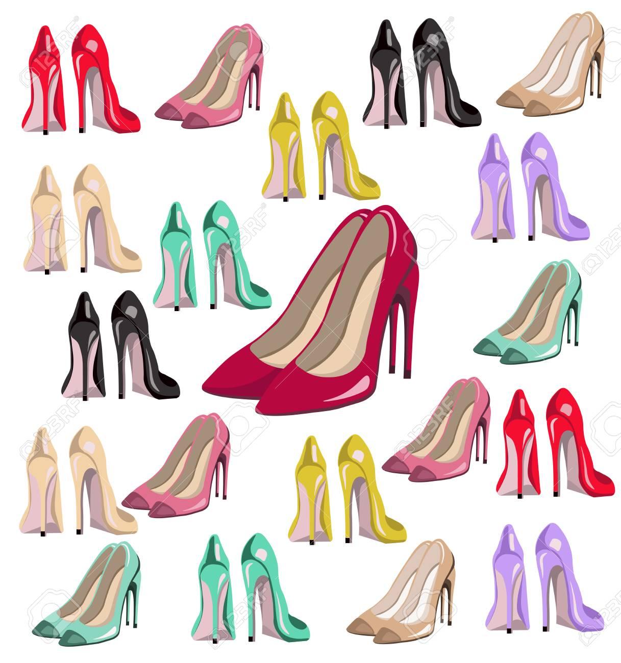 Sexy Lady Shoes Pumps Vector Set