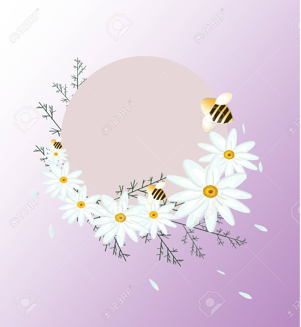 vintage summer chamomile flowers card round decoration for