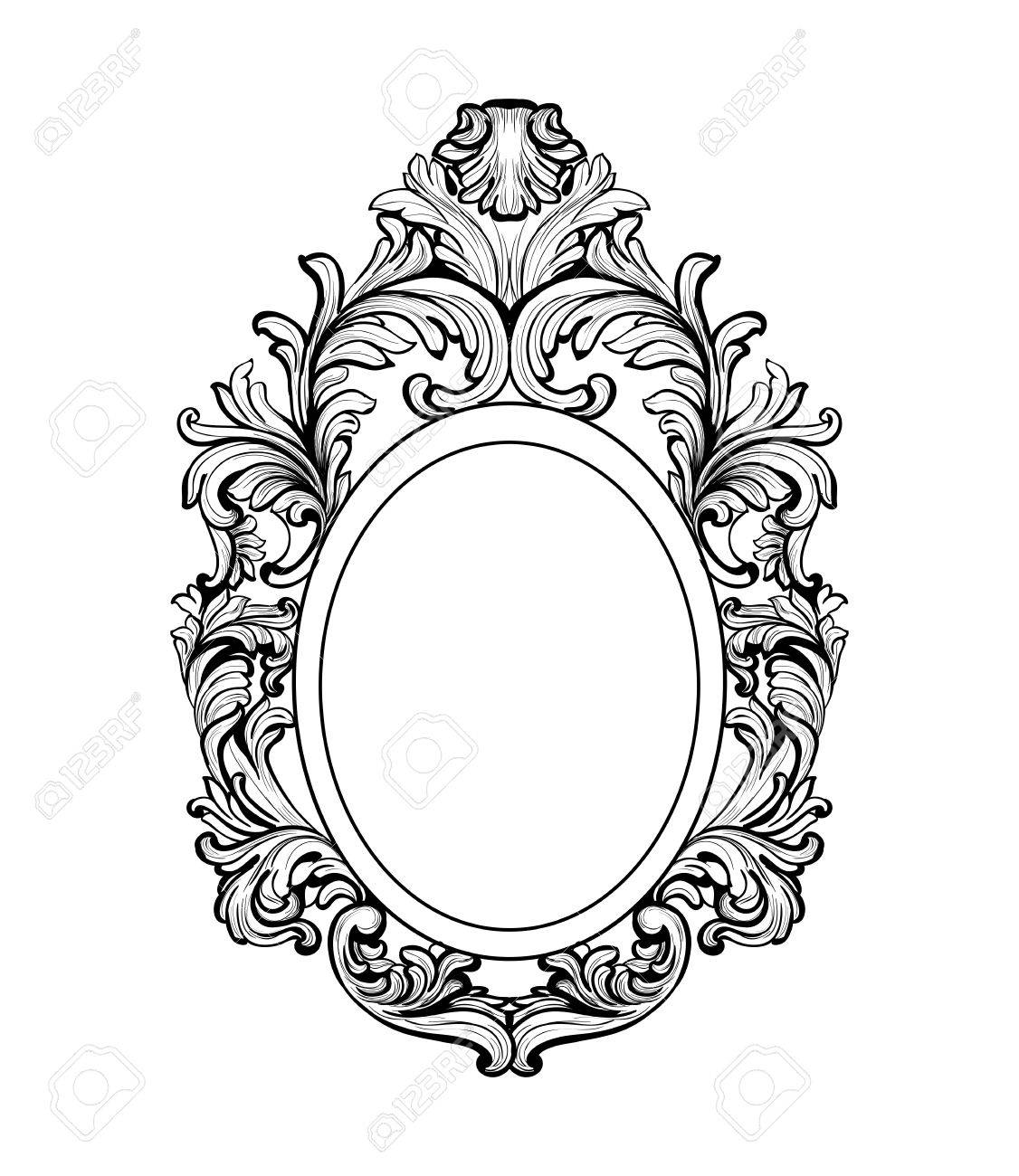 rich baroque mirror frame vector french luxury rich intricate rh 123rf com victorian oval frame vector victorian oval frame vector