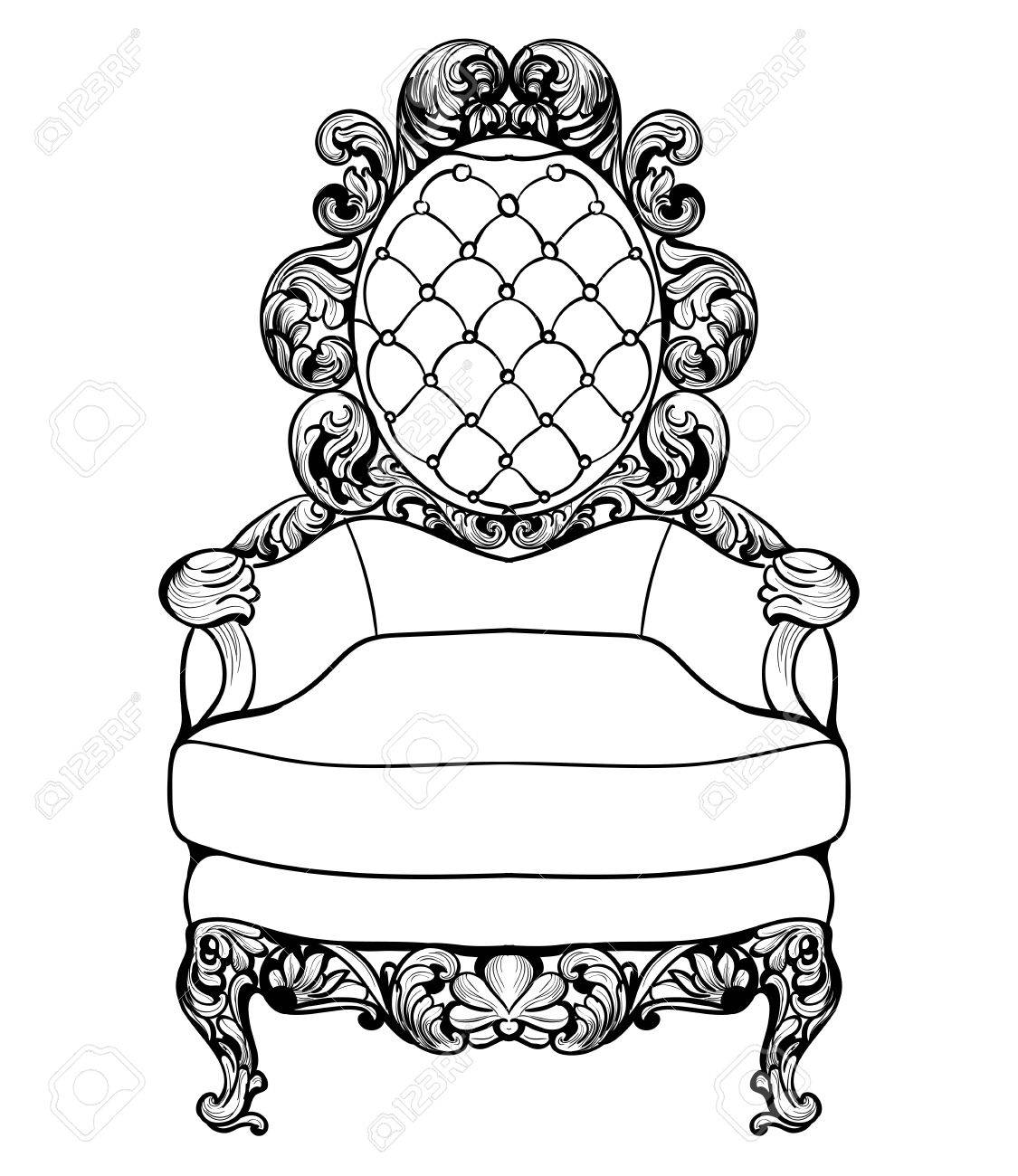 Imperial Baroque Armchair With Luxurious Ornaments Vector French  # Meuble Royal Decorations