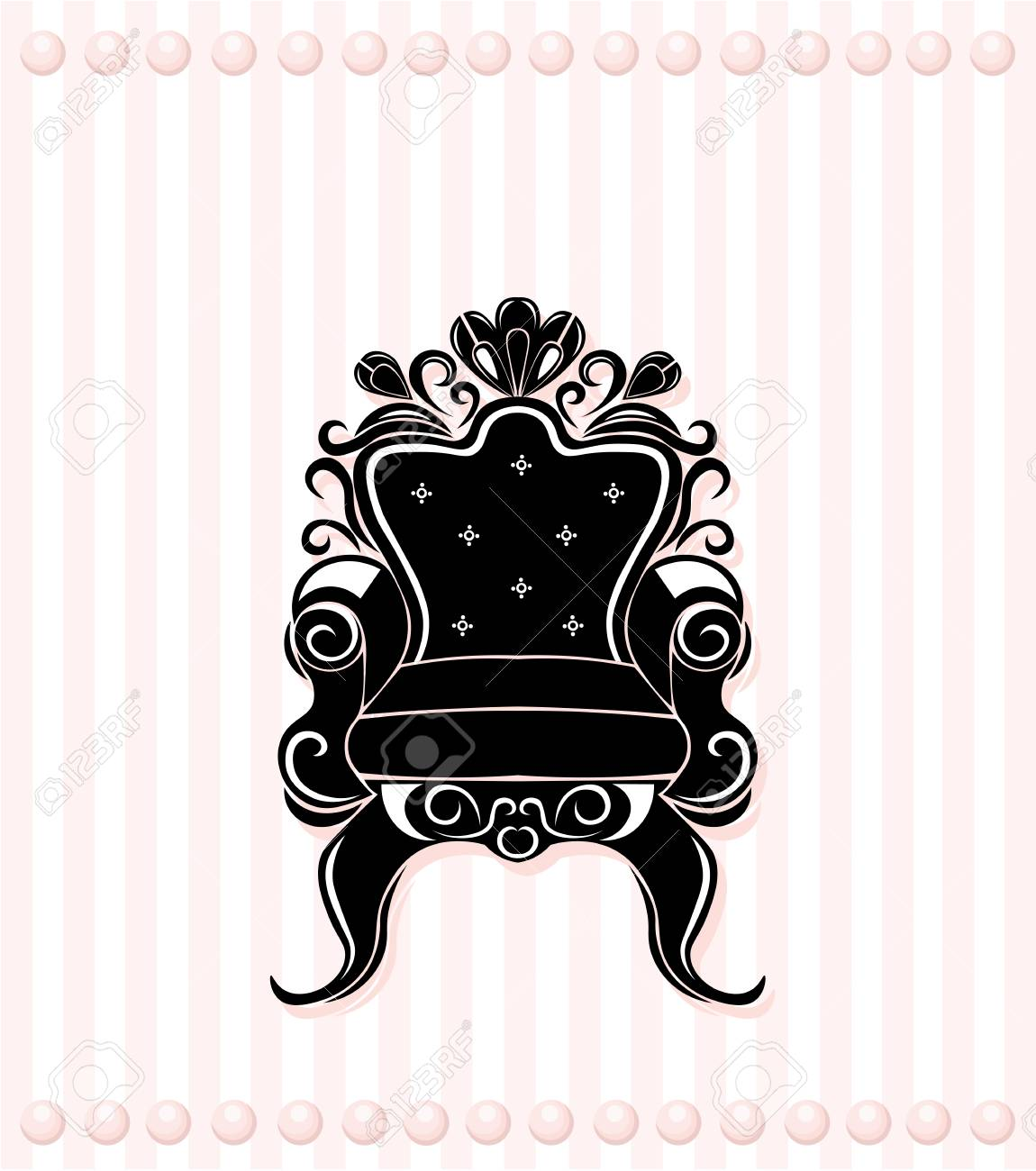 Schwarze Silhouette Des Weinleselehnstuhls. Französisch Luxus Reich  Geschnitzten Verzierungen Dekoriert Möbel. Vektor Victorian Royal