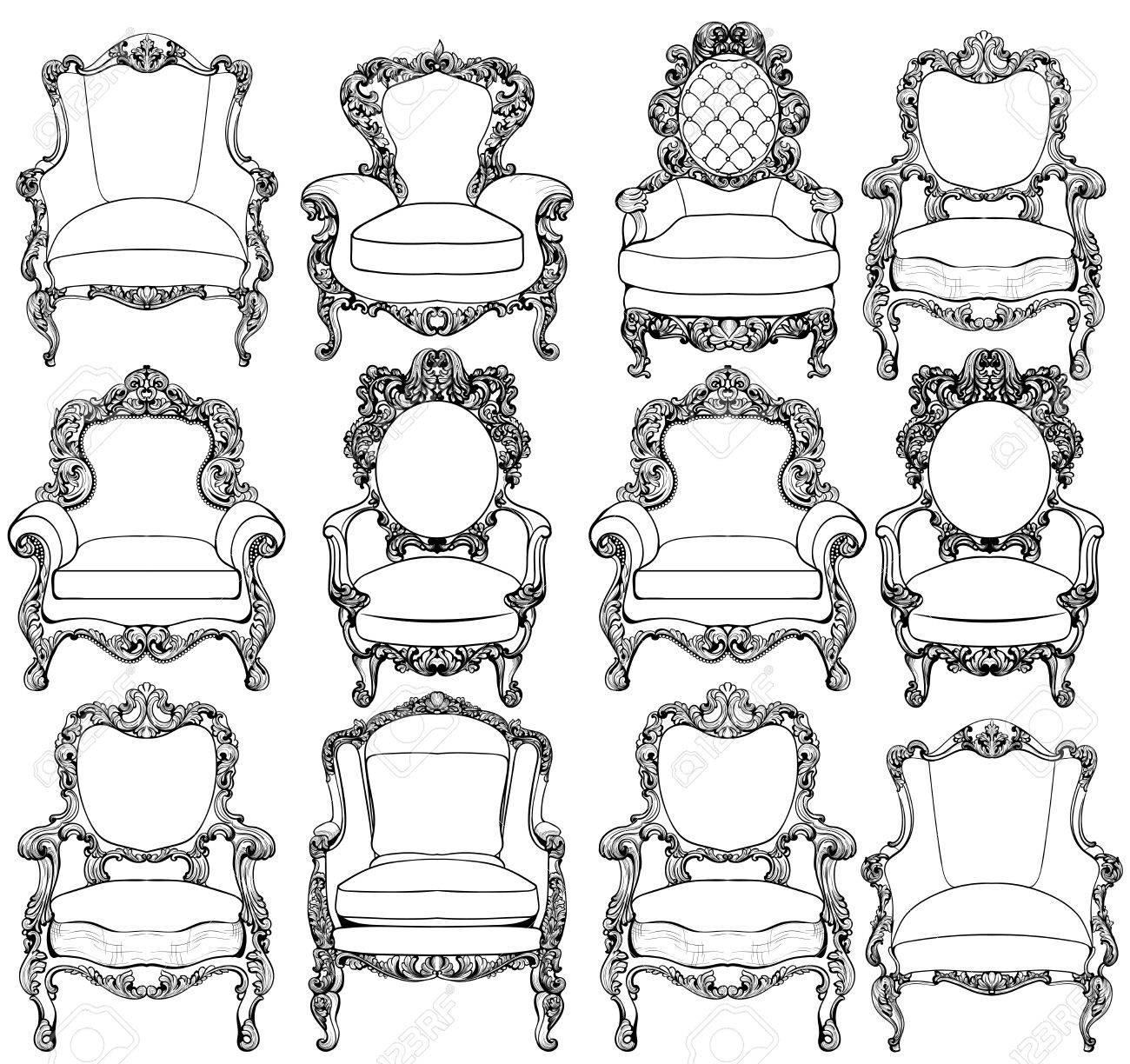 Vintage Barock Luxus-Stil Sessel Möbel-Set-Kollektion. Französische ...