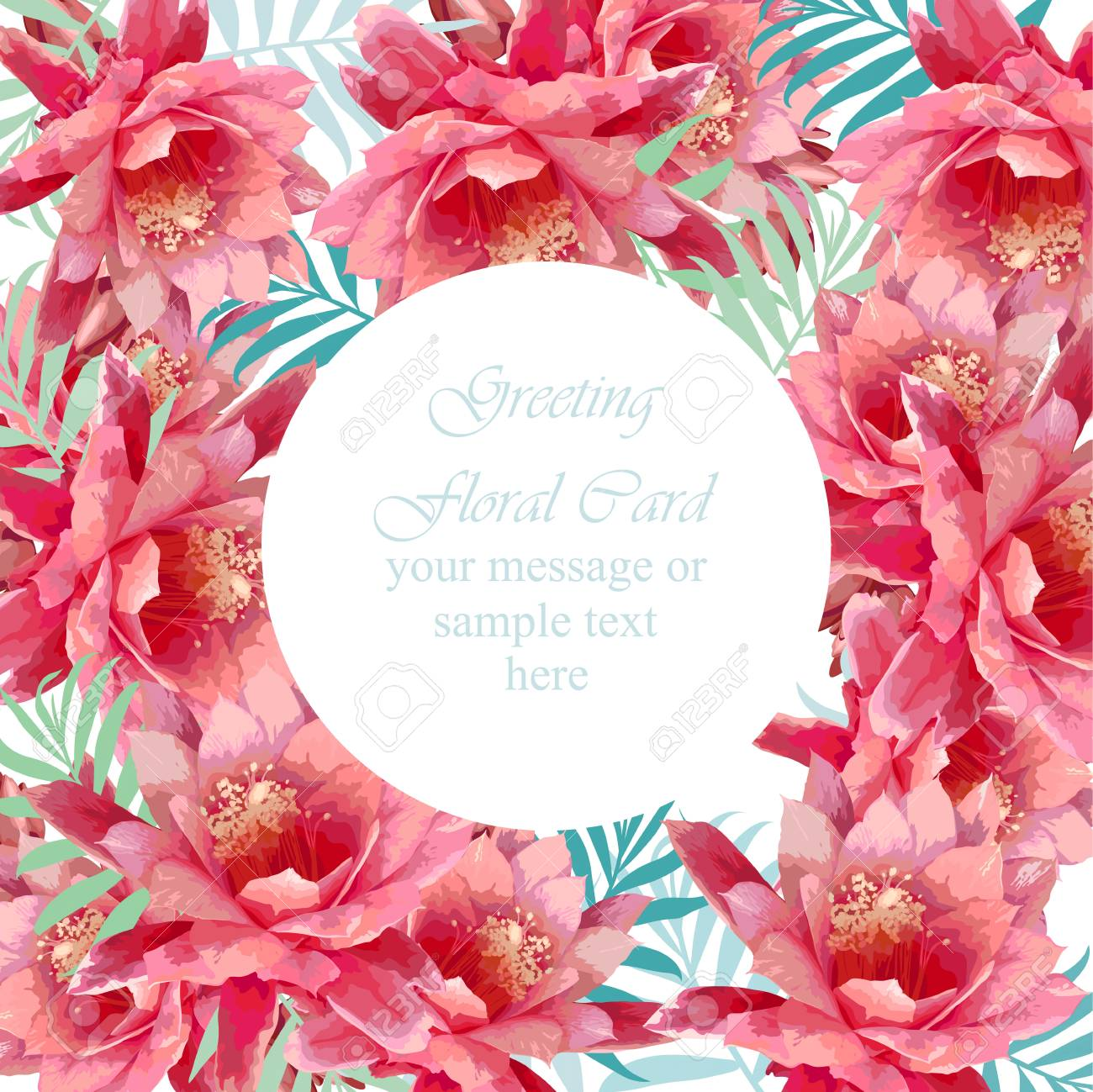 Summer Peony Round Flowers Blossom Card Frame. Spring Season ...