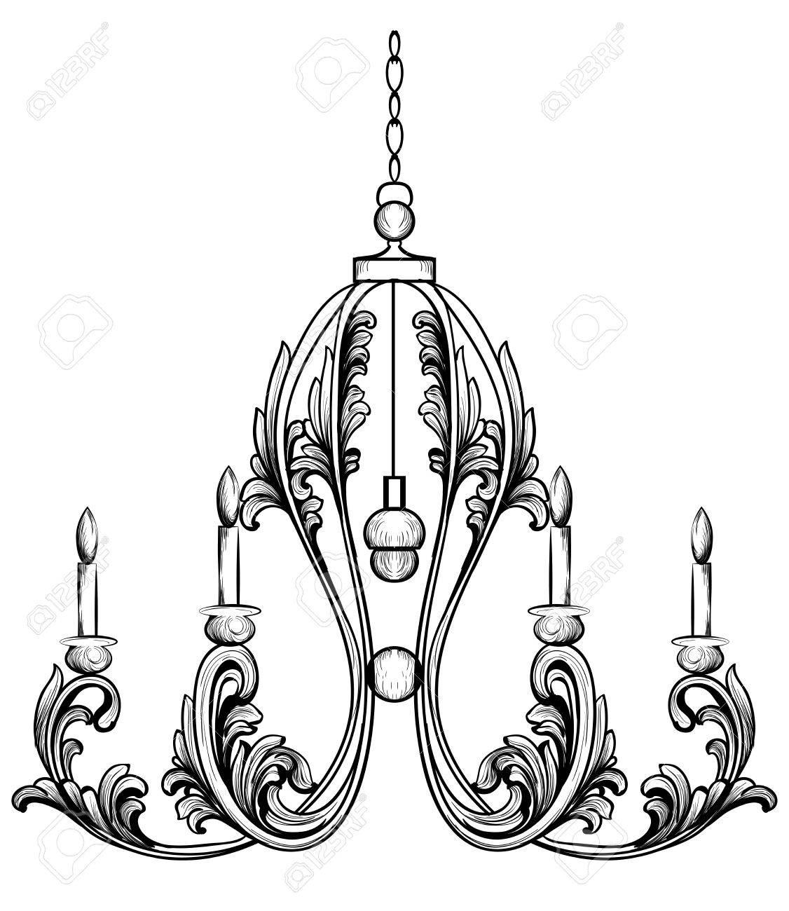 Rich rococo classic chandelier luxury decor accessory design rich rococo classic chandelier luxury decor accessory design vector illustration sketch stock vector aloadofball Images