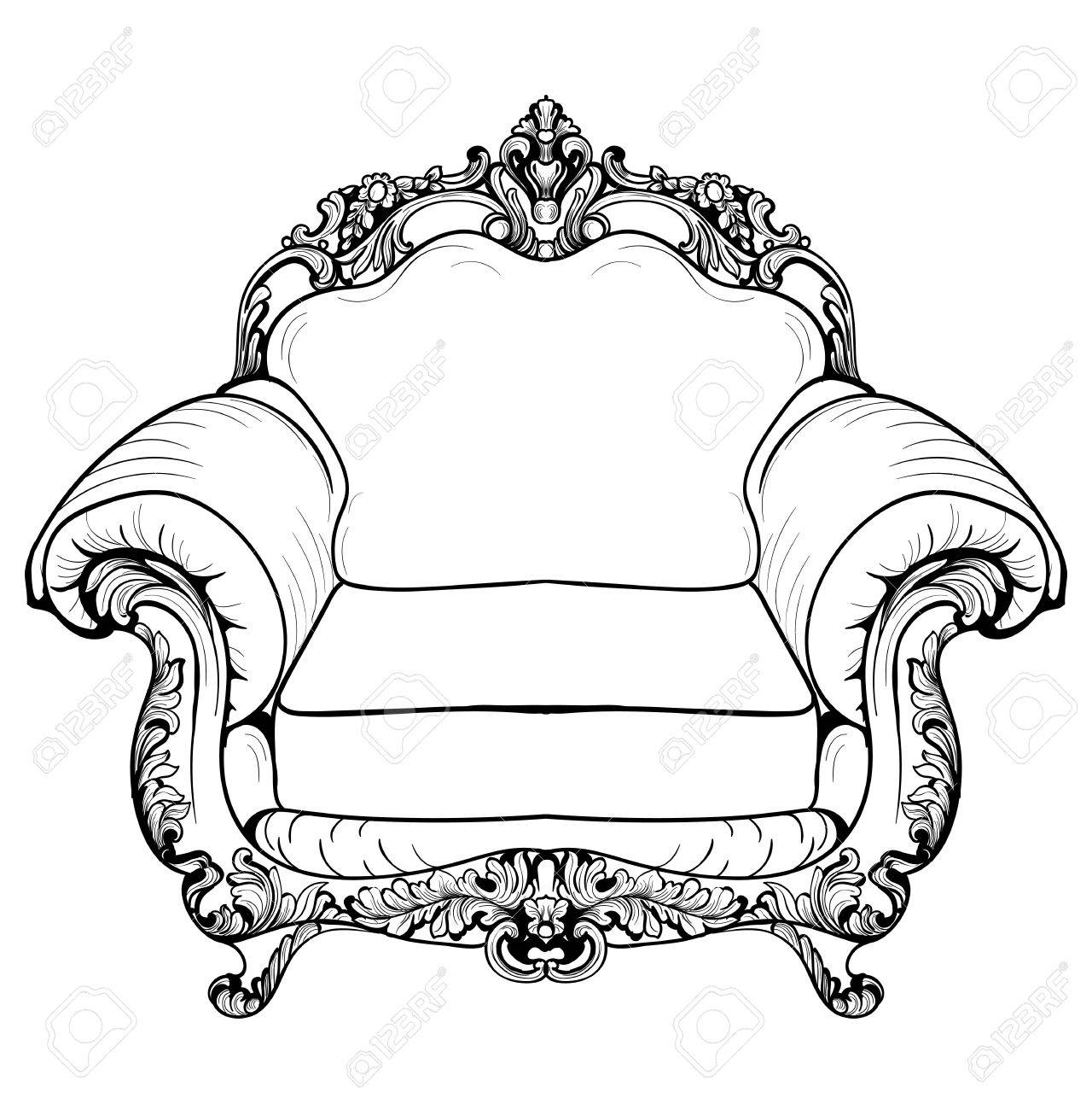 Baroque Armchair With Luxurious Ornaments Vector French Luxury  # Meuble Royal Decorations
