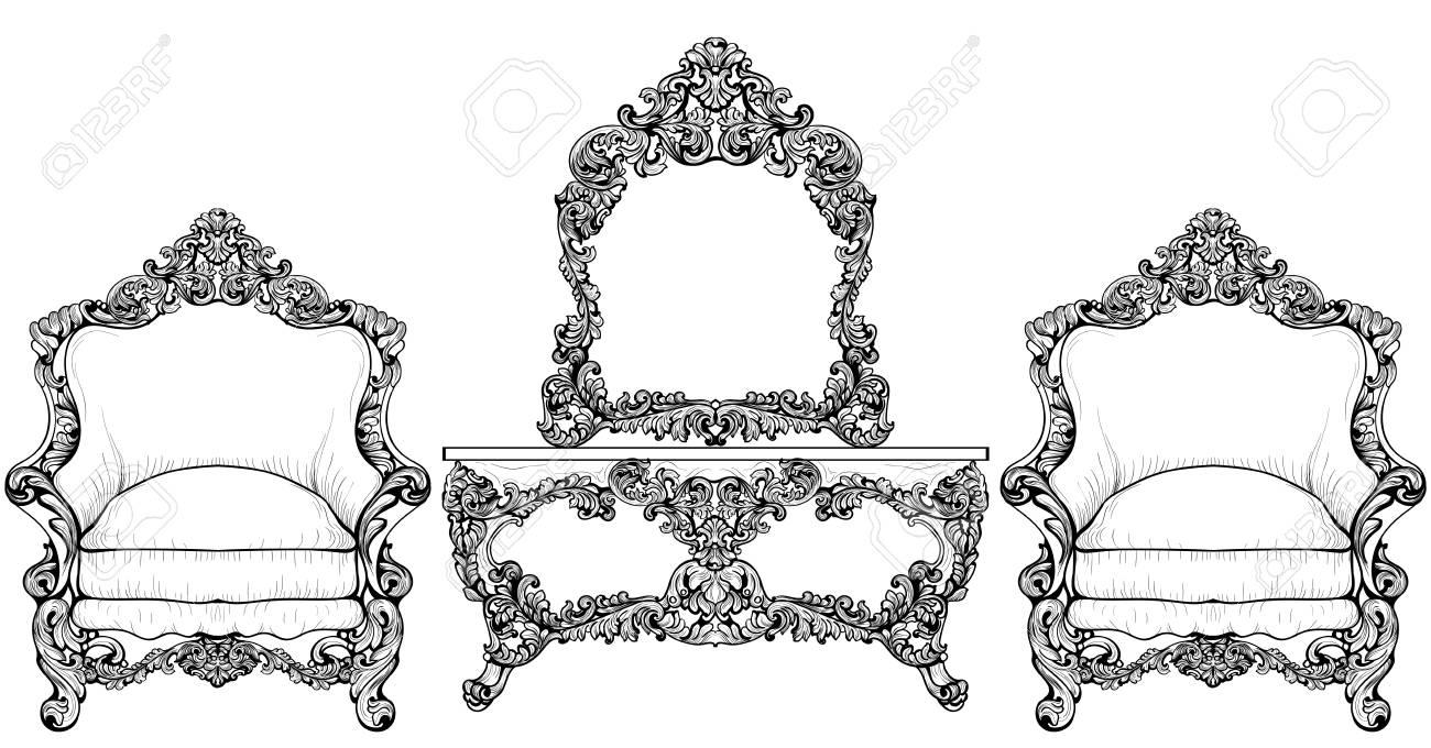 Wohnzimmermöbel-Set. Barocker Sessel Mit Luxuriösen Ornamenten ...