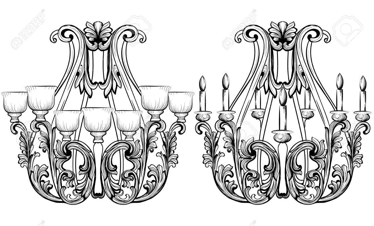 Rich baroque classic chandelier luxury decor accessory design rich baroque classic chandelier luxury decor accessory design vector illustration sketch stock vector aloadofball Images