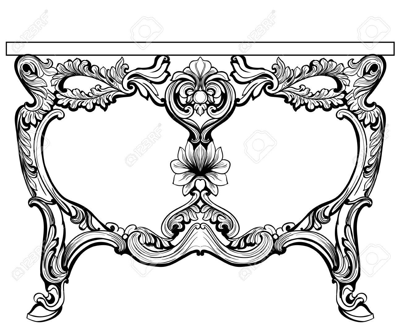 Baroque console table engraved vector french luxury rich baroque console table engraved vector french luxury rich intricate ornamented structure victorian royal style geotapseo Images