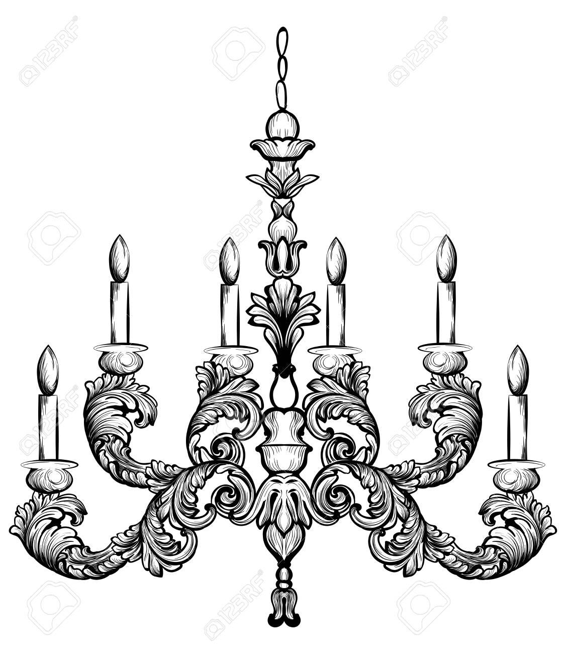 Rococo rich chandelier vector illustration detailed ornaments rococo rich chandelier vector illustration detailed ornaments decor stock vector 85198310 mozeypictures Gallery