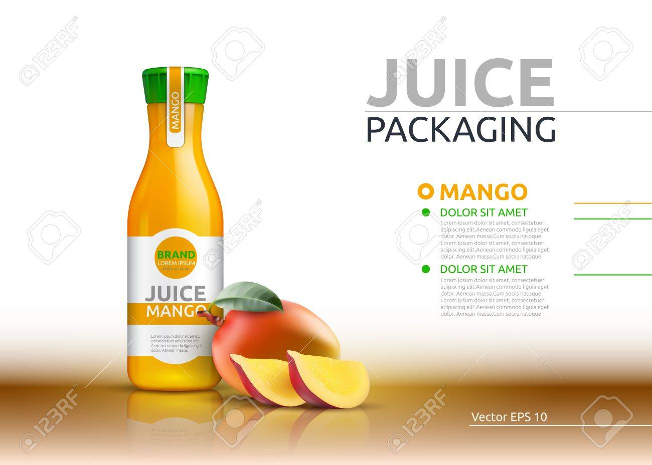 Mango Juice Packaging Realistic Vector Mock Up. Fruits Juicy ...