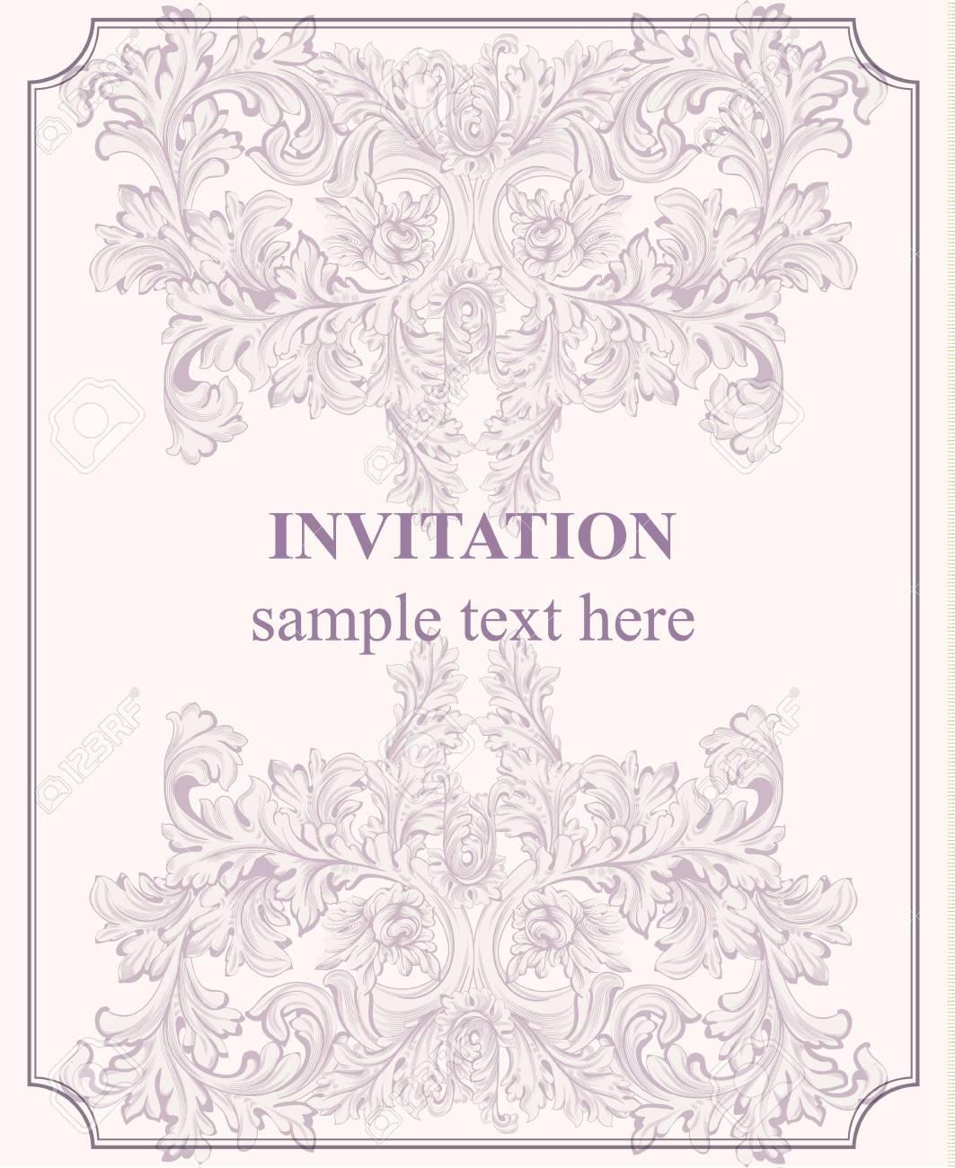 Luxury invitation card vector royal victorian pattern ornament luxury invitation card vector royal victorian pattern ornament pale lavender color stock vector stopboris Images