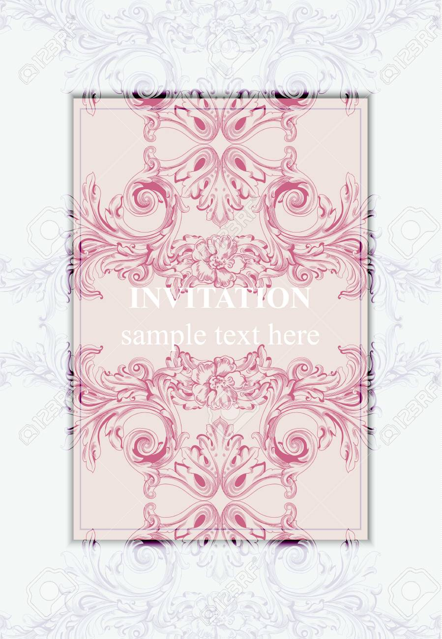 Invitation card vector royal victorian pattern ornament rich invitation card vector royal victorian pattern ornament rich baroque backgrounds primrose pink and stopboris Images