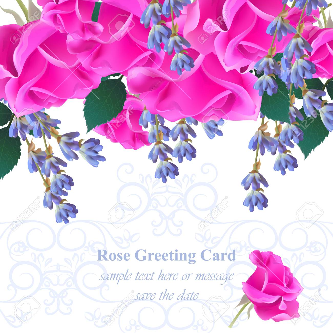 Wedding Invitation Card Vector. Roses And Lavender Flowers ...