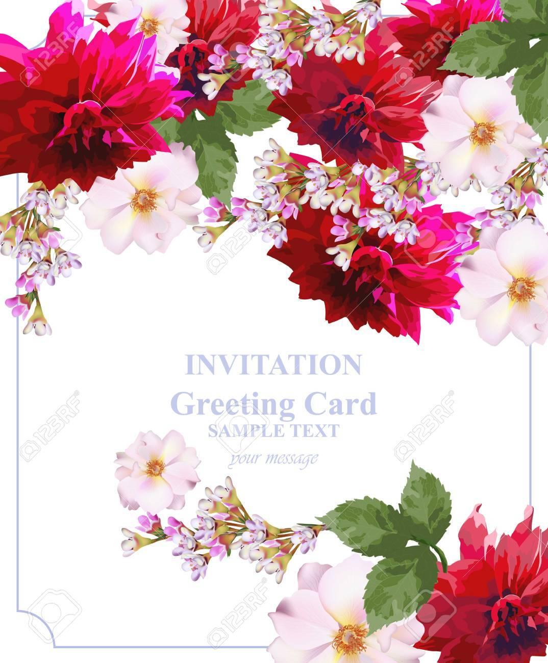 Invitation Card Floral Vector. Colorful Beautiful Flowers. Fuchsia ...