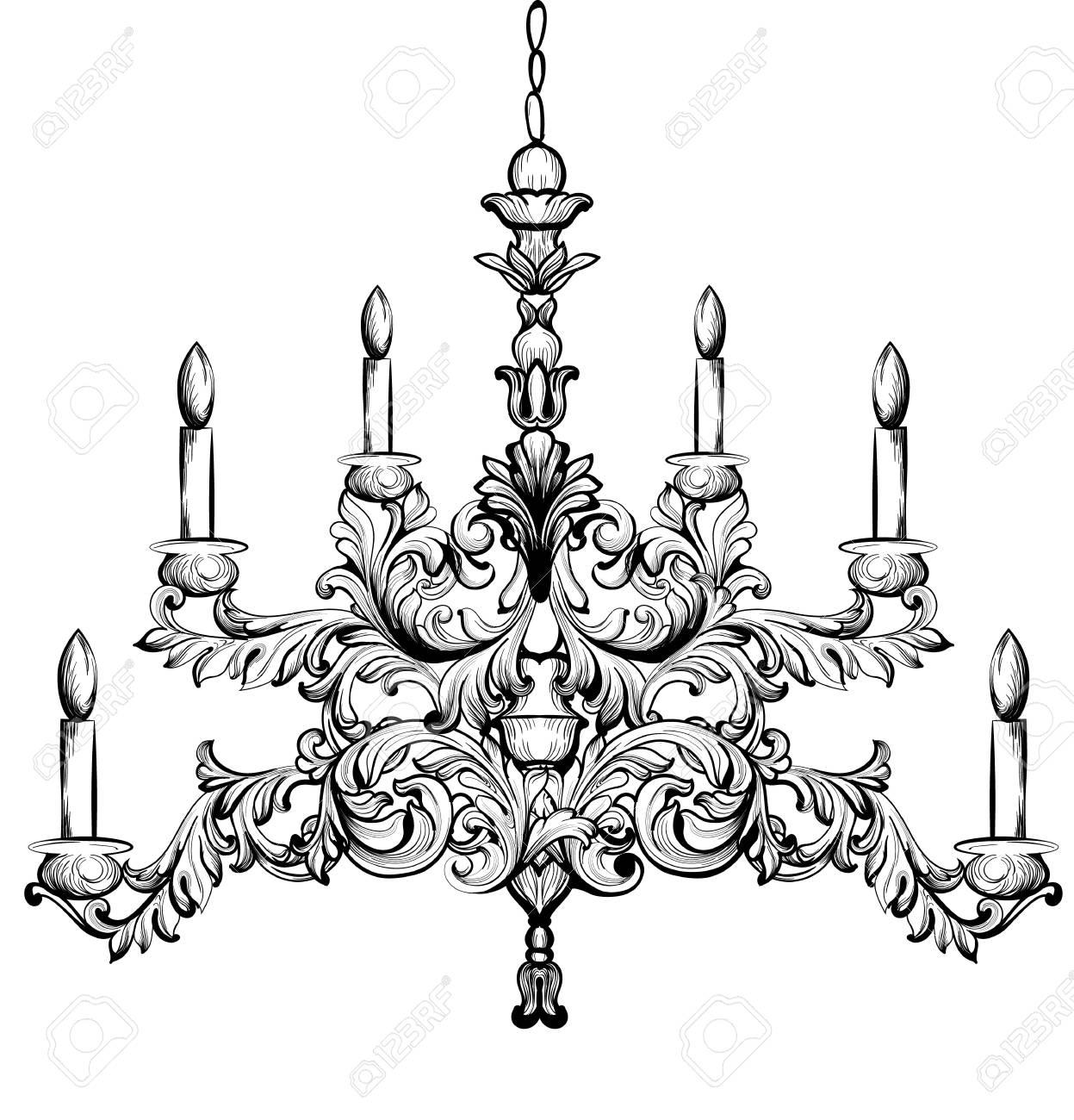 バロック式のシャンデリア高級装飾アクセサリーのデザインベクトル