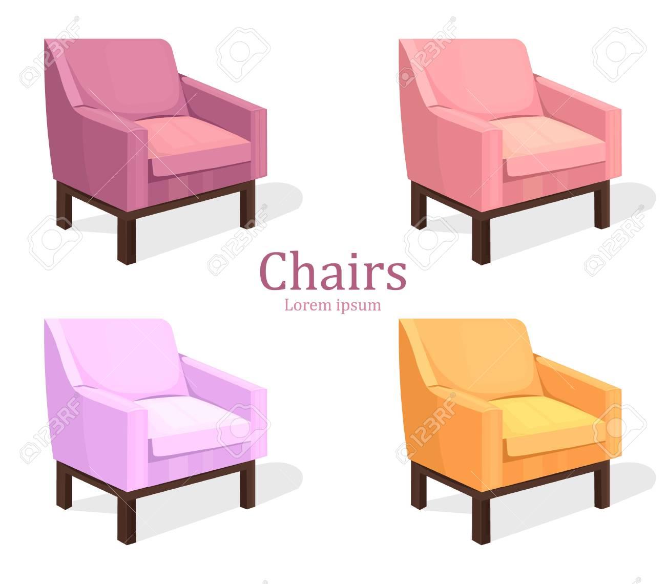Malerisch Bunte Stühle Foto Von Stühle Stellten Vektor Ein. Moderne Polster Kollektionen