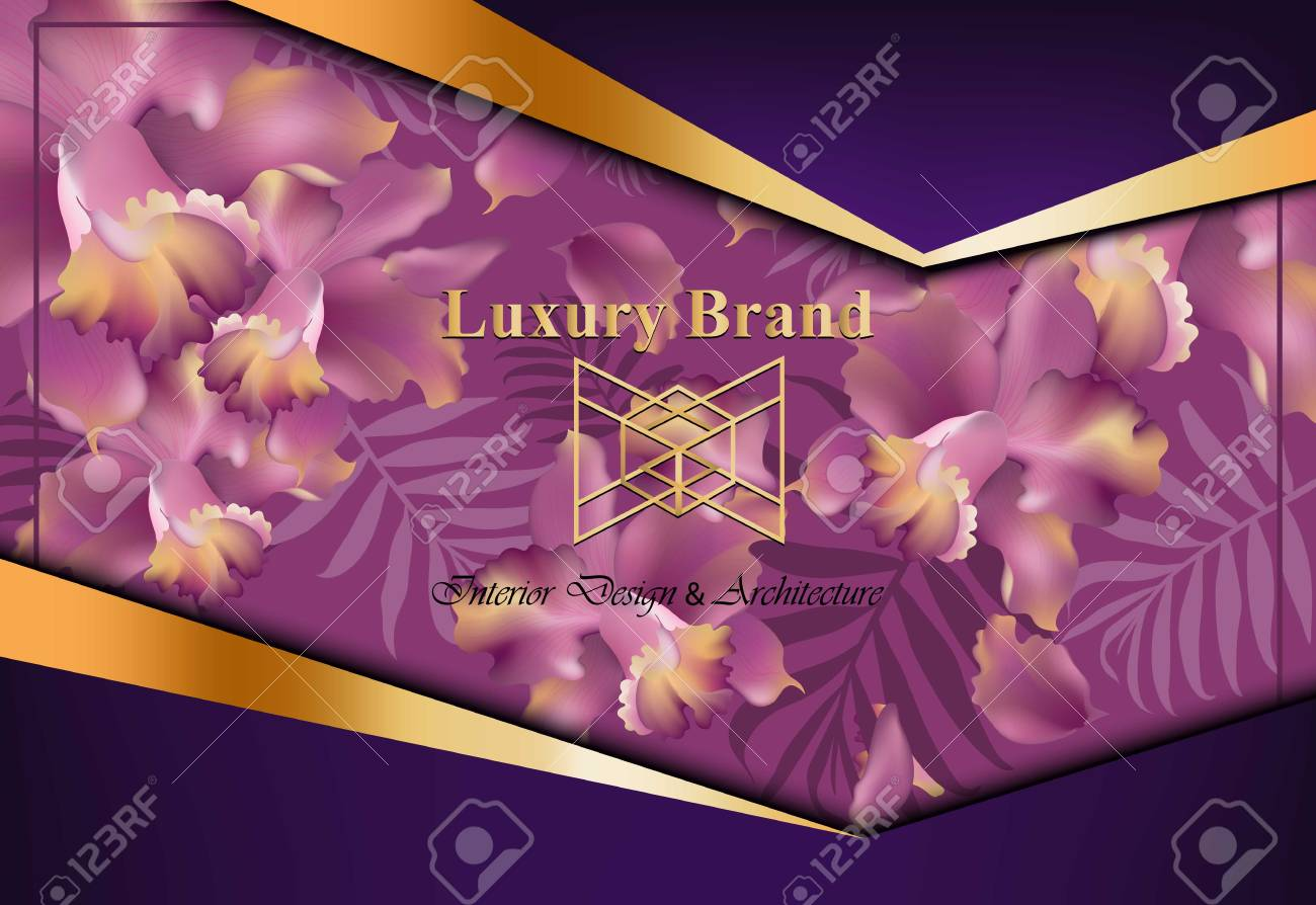 Luxury card with orchid flowers vector beautiful illustration luxury card with orchid flowers vector beautiful illustration for brand book business card or reheart Image collections