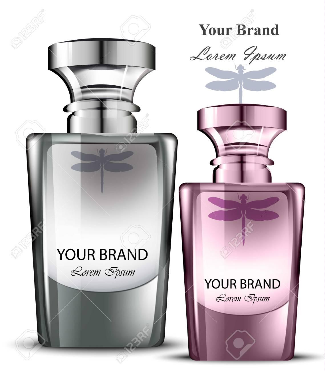 8339519867a8b Conjunto de botella de perfume de hombres y mujeres. Diseño de packaging de  producto vectorial