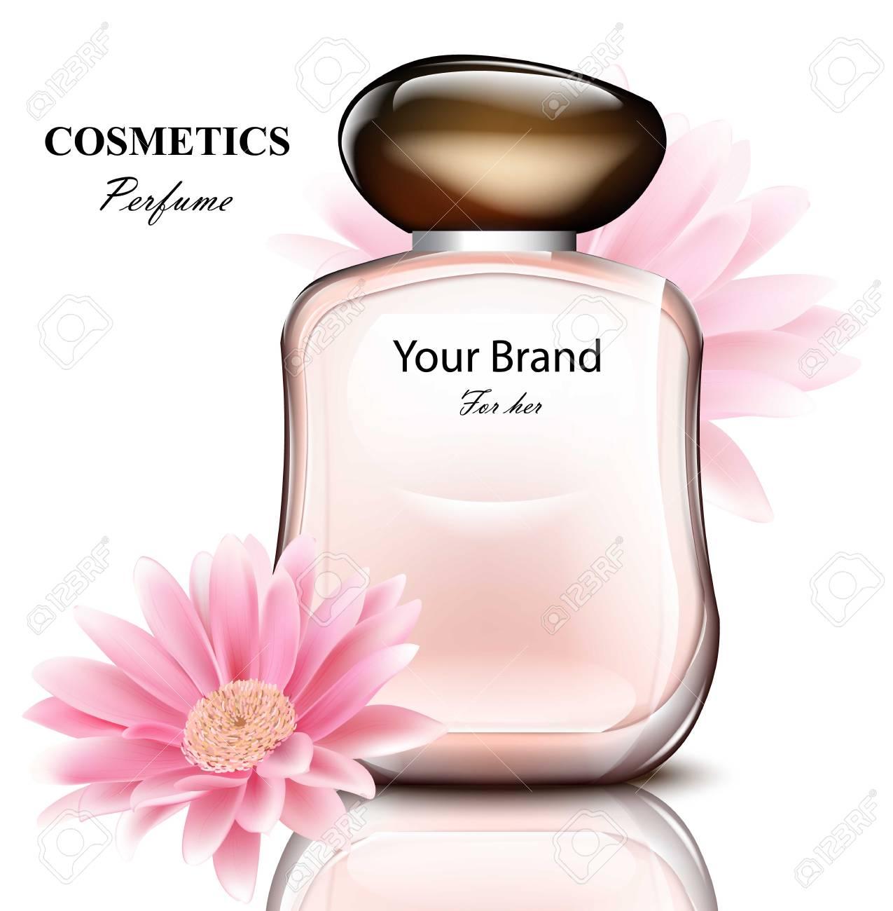 Pour Avec Un De Parfum Fleurs D'emballage Délicat MargueriteConception Bouteille Produit Femme Vectoriel Réaliste XZPiuk