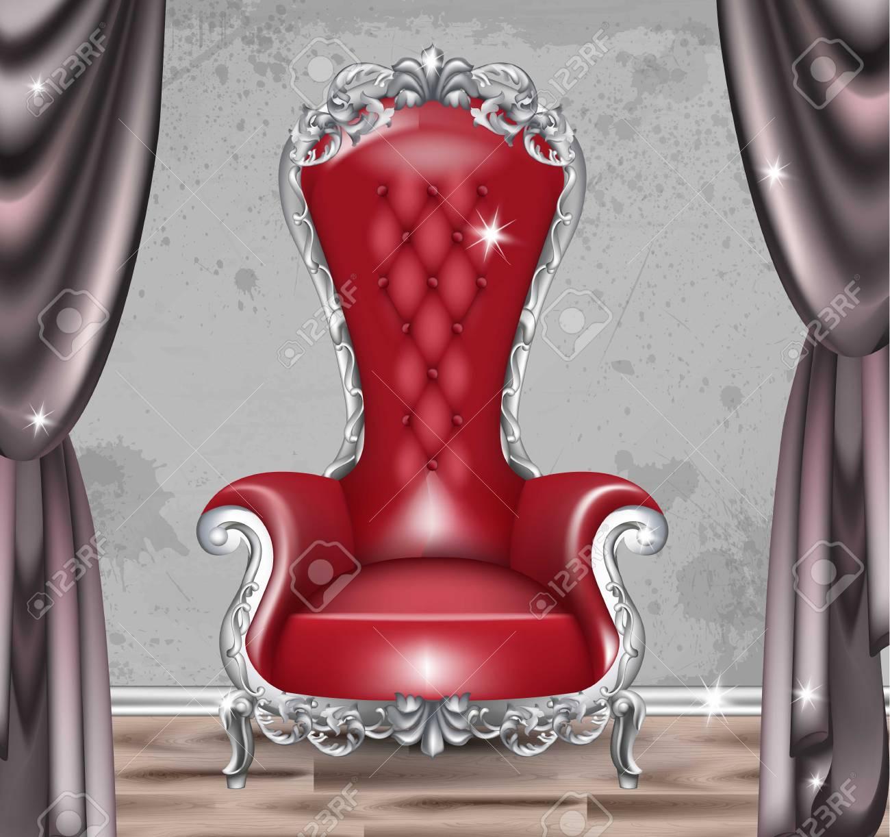 Sillón De Glamour Rojo Barroco. Muebles Con Tela Victoriana Adornada ...