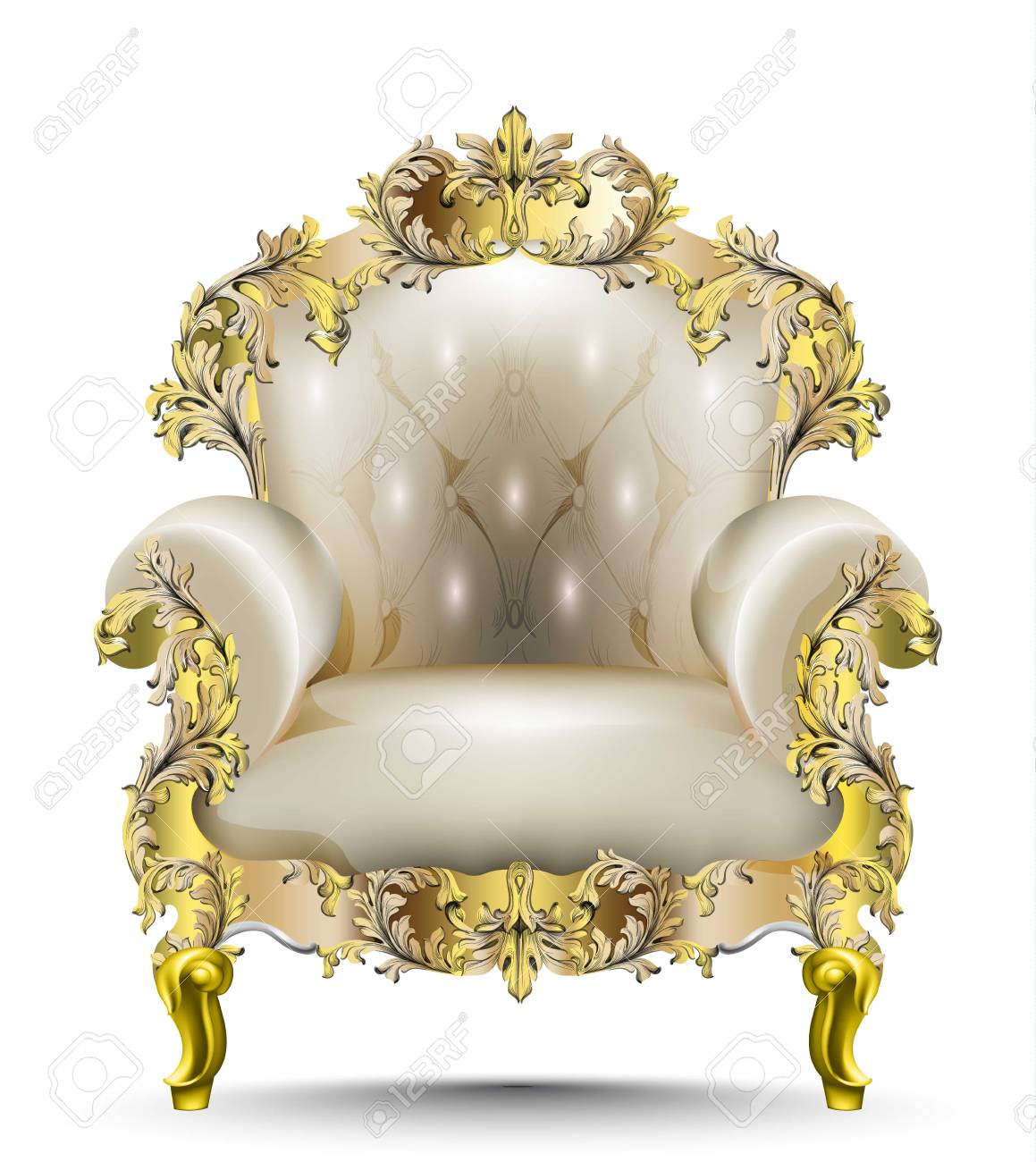 Luxurious Baroque Armchair Soft Textile. Vector Realistic 3D Designs.  Golden Carved Ornament Stock Vector