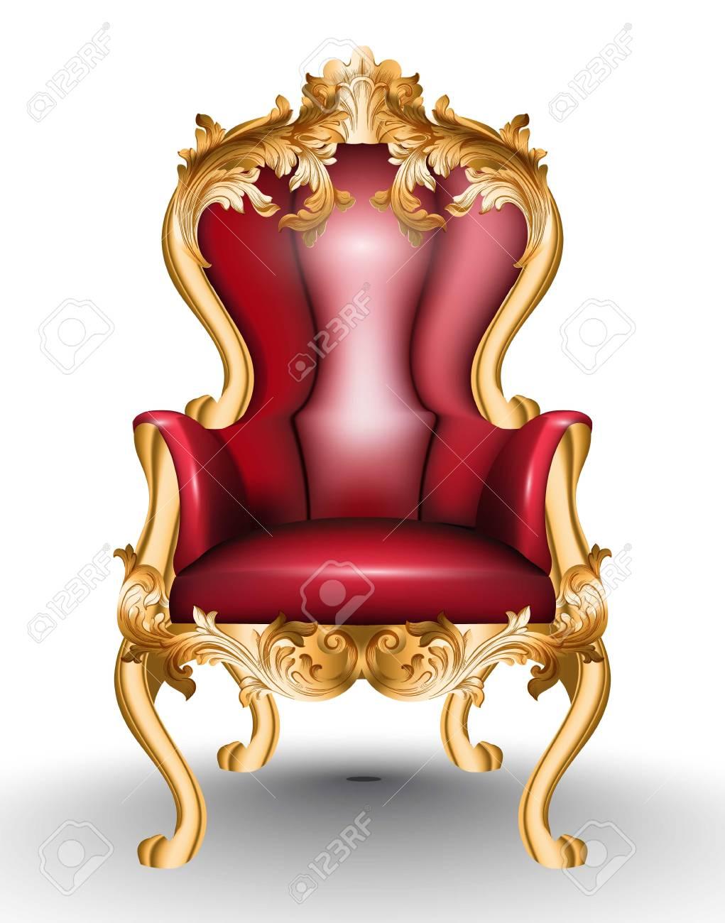 Sillón Glamoroso Rojo Barroco Aislado Sobre Fondo Blanco. Muebles ...