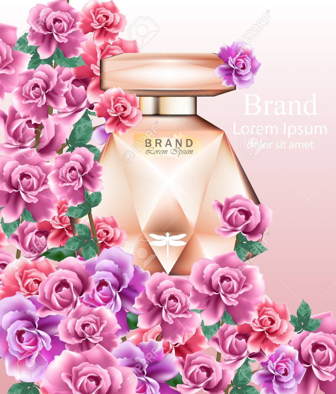 perfume bottle delicate roses fragrance. realistic vector product