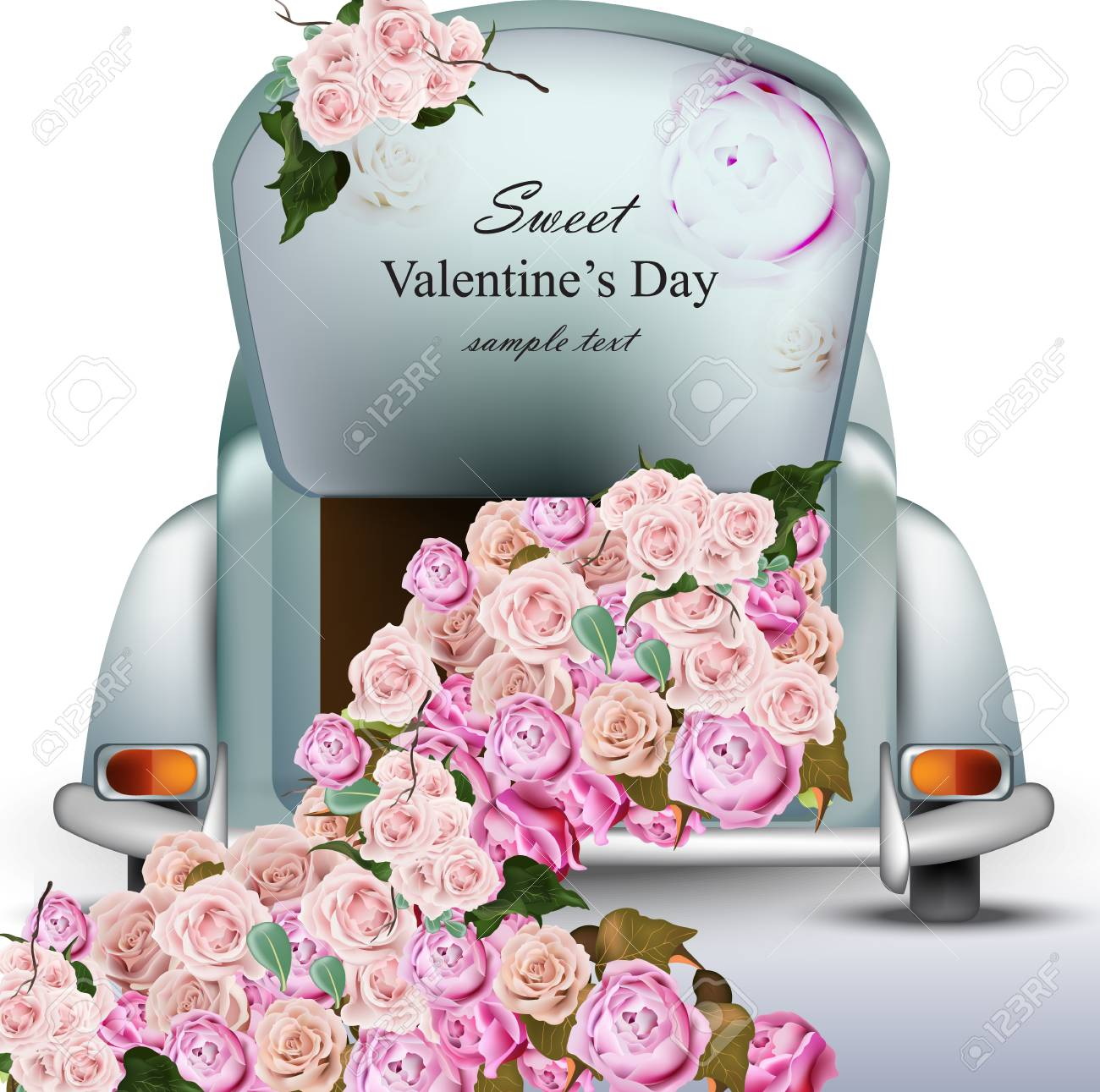 Vintage Retro Car With Rose Flowers. Valentines Day Card Vector ...