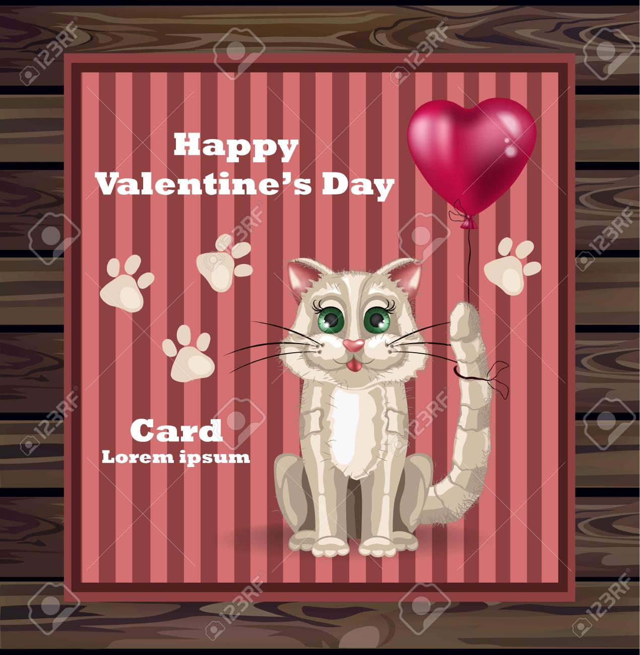 Valentine Day Cute Kitty Card Vector Happy Holiday With Cat