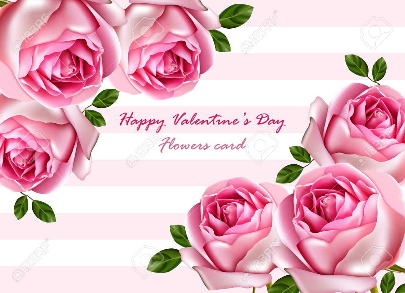 Happy valentine day beautiful roses card vector realistic flowers happy valentine day beautiful roses card vector realistic flowers bouquet detailed illustrations stock vector izmirmasajfo