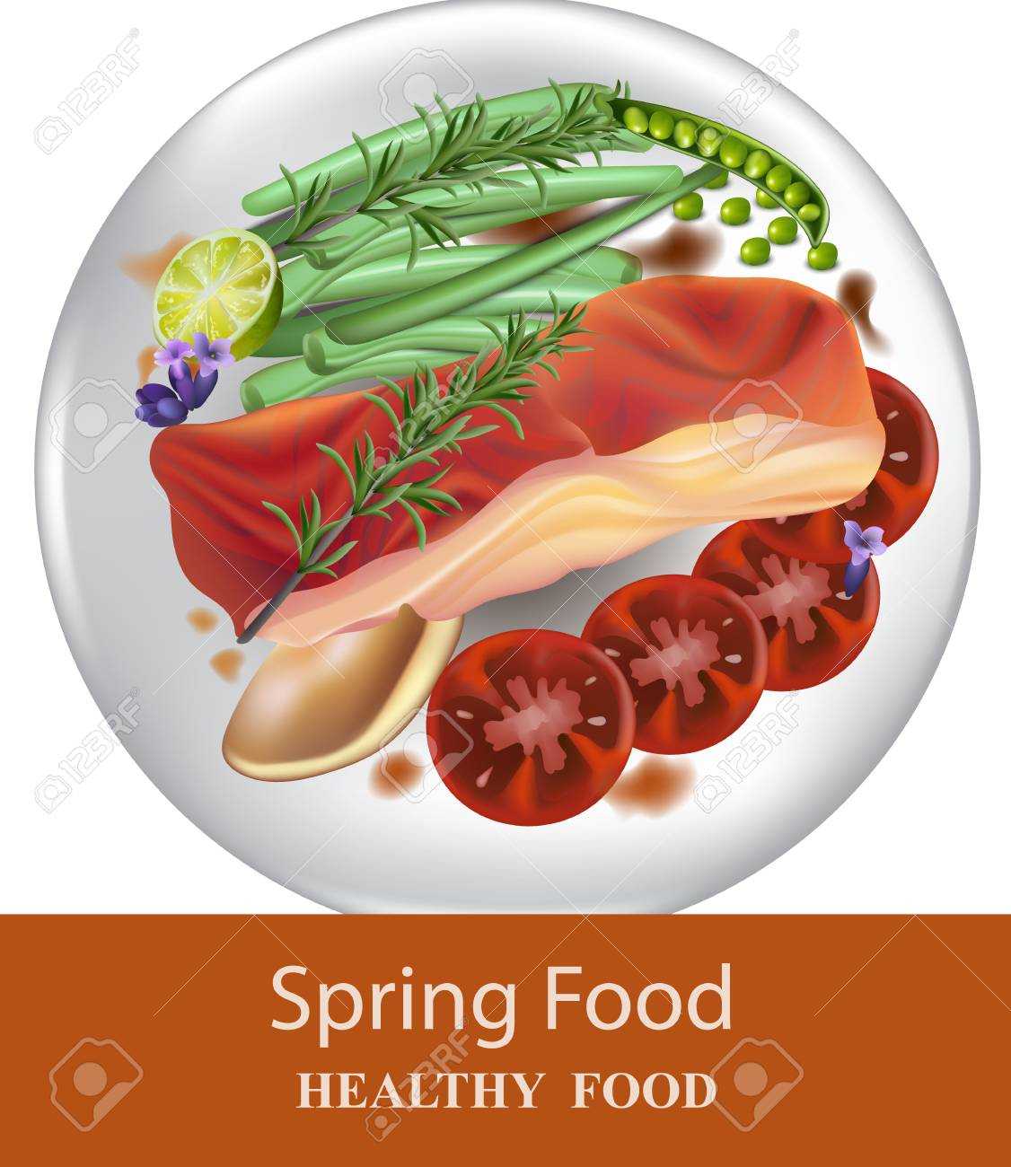 Healthy Dinner Plate Salmon And Vegetables Vector Realistics Stock