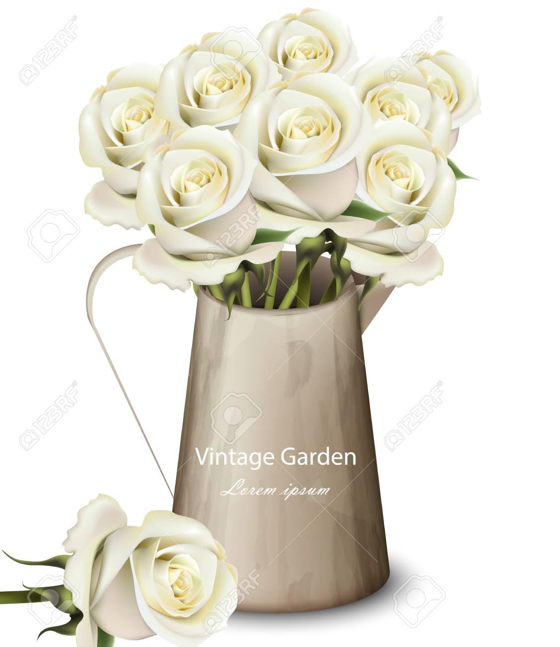 White Roses Vintage Bouquet Vector Flowers Bouquet In A Pot
