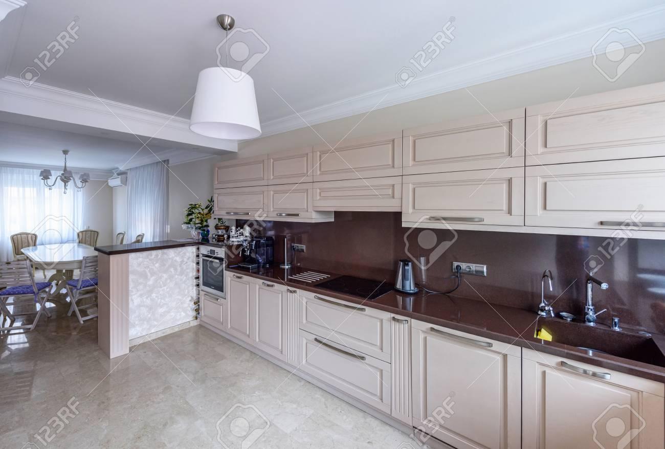 Modern Kitchen Interior Appartement Design Wide Angle Photo Stock