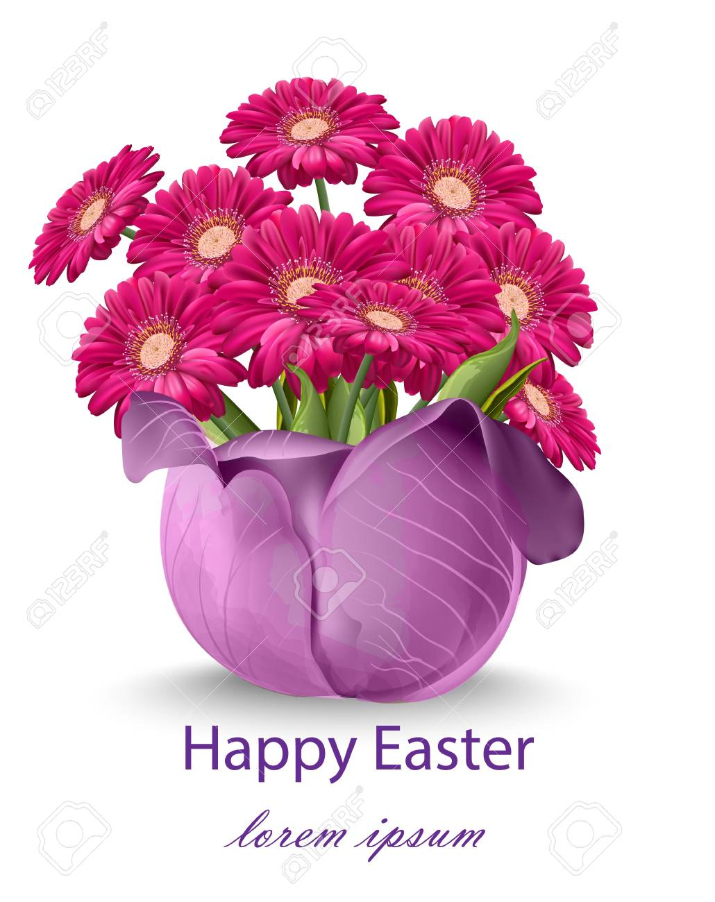 Happy Easter Daisy Flowers Bouquet Card Vector Spring Floral