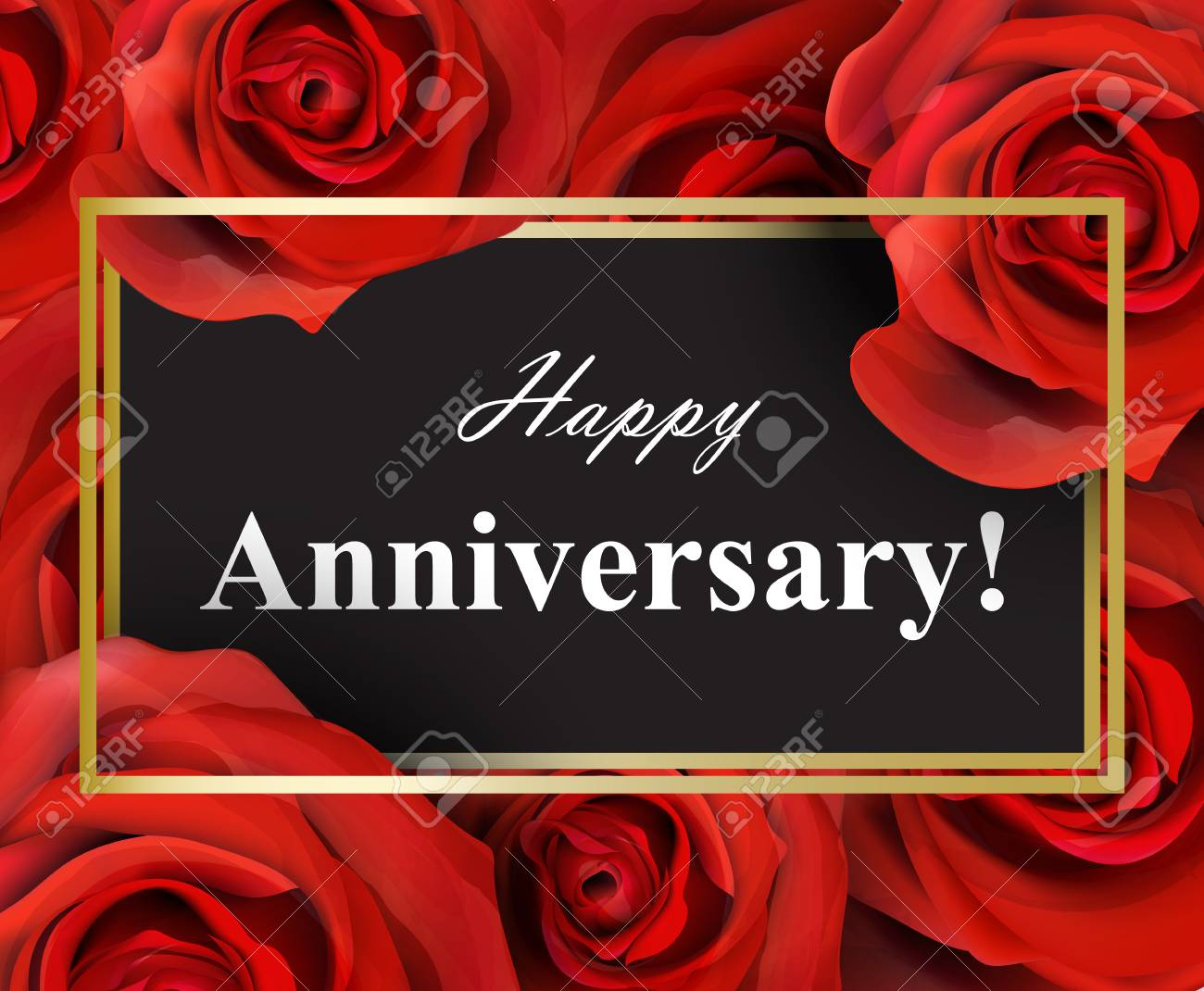 Happy Anniversary Greeting Card With Red Roses Background Royalty