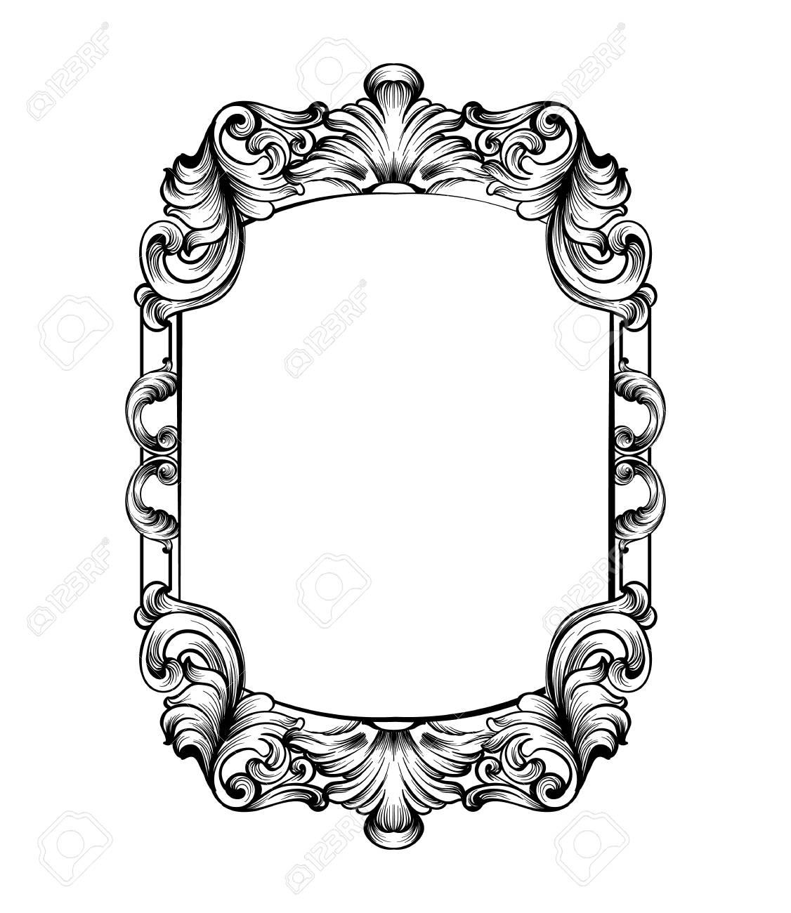 mirror frame. Exellent Mirror Archivio Fotografico  Baroque Mirror Frame Vector Imperial Decor Design  Elements Rich Encarved Ornaments Line Arts And Mirror Frame
