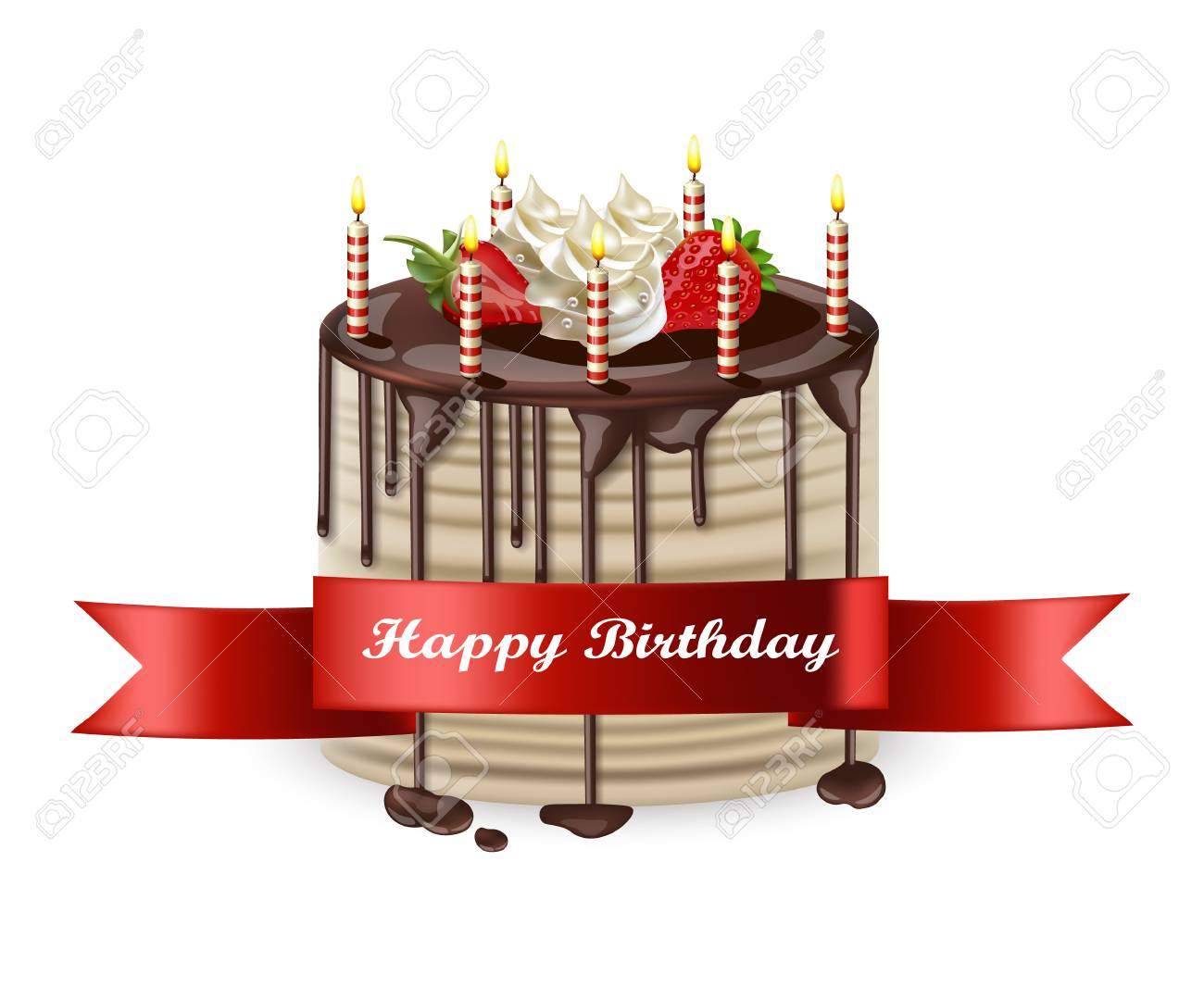 Happy Birthday Cake Vector Realistic 3d Detailed Illustration Royalty Free Cliparts Vectors And Stock Illustration Image 99728005