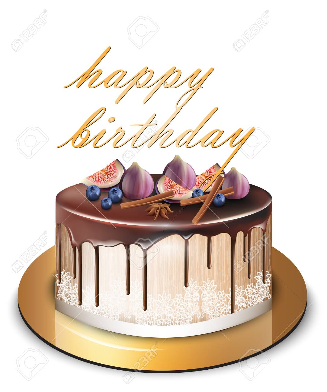 Happy Birthday Cake With Fig Fruits Vector Delicious Dessert Sweet Design Stock