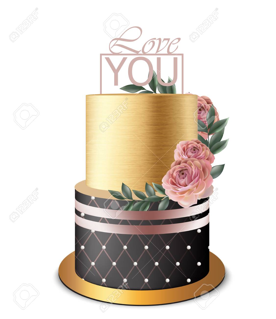 Luxury Gold Cake Vector Realistic. Birthday, Anniversary, Wedding ...