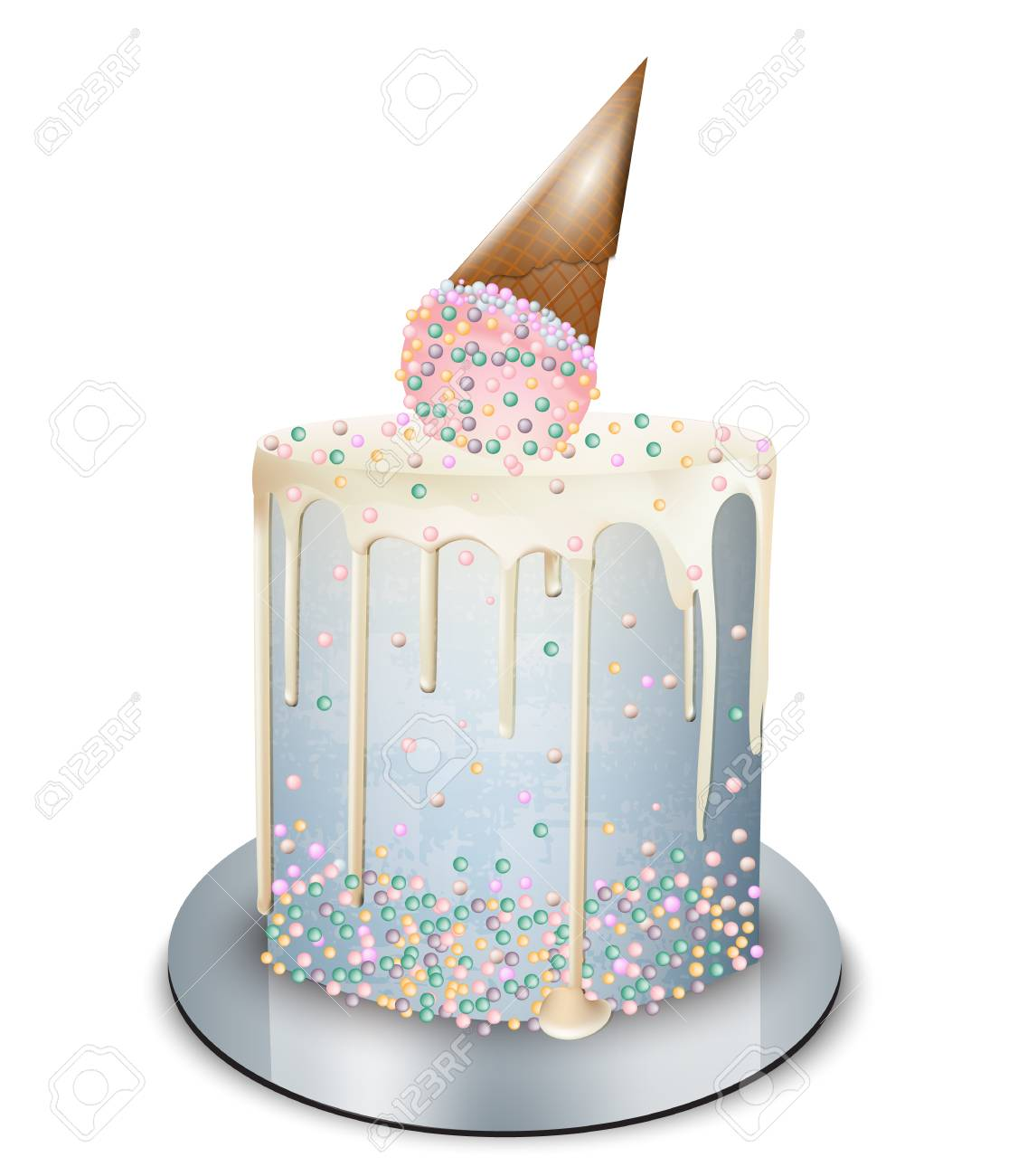 Modern Cake Ice Cream Cone On Top Vector Realistic Birthday Anniversary Wedding Royal