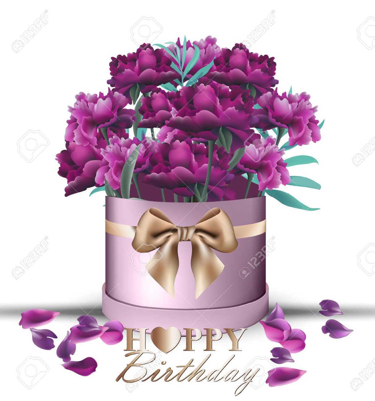 Happy Birthday Peony Flowers Bouquet Card Vector. Vintage Gift ...