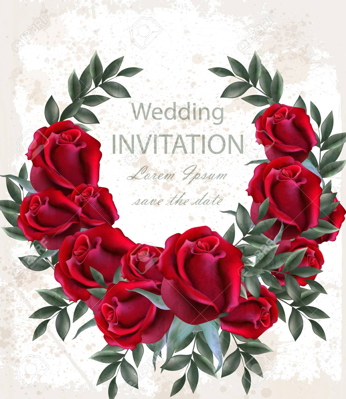 Wedding Roses Wreath Vector. Beautiful Red Flowers Garland ...
