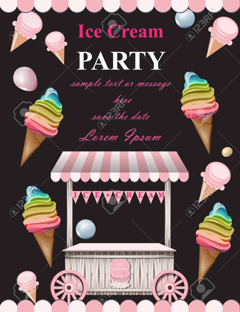 Ice Cream Party Invitation Card Vector Summer Booth Birthday Or Event