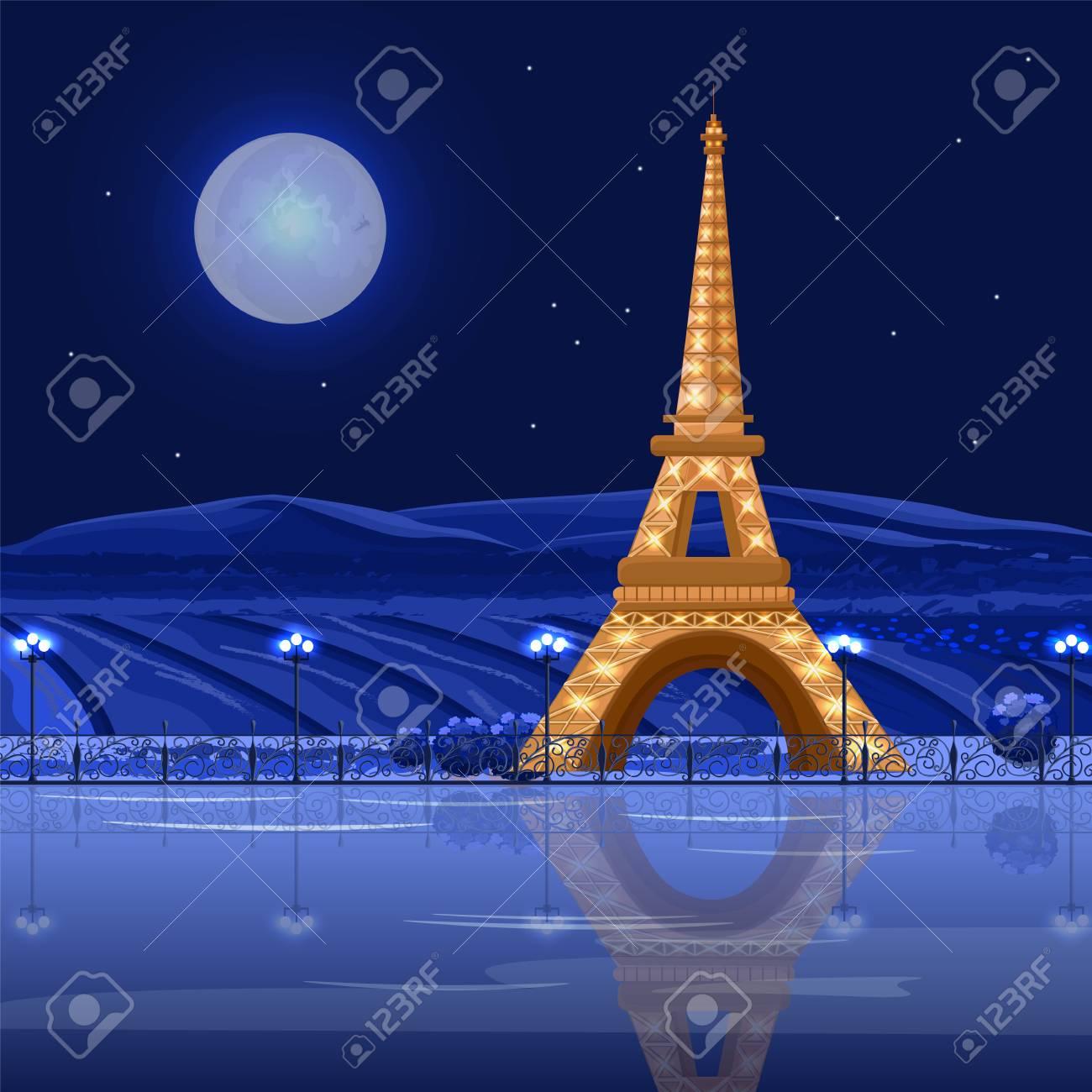 Tour Eiffel Paris at night Vector card. Beautiful background - 115004110