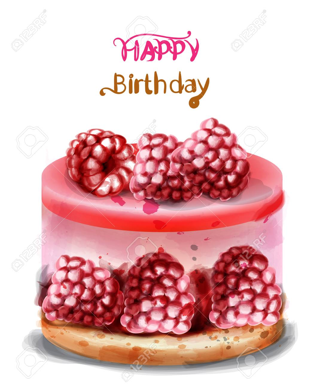 Astounding Raspberry Birthday Cake Vector Watercolor Happy Birthday Funny Birthday Cards Online Fluifree Goldxyz