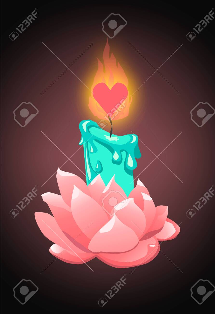 Turquoise candle in rose flower holder with heart shaped wick - 139118479