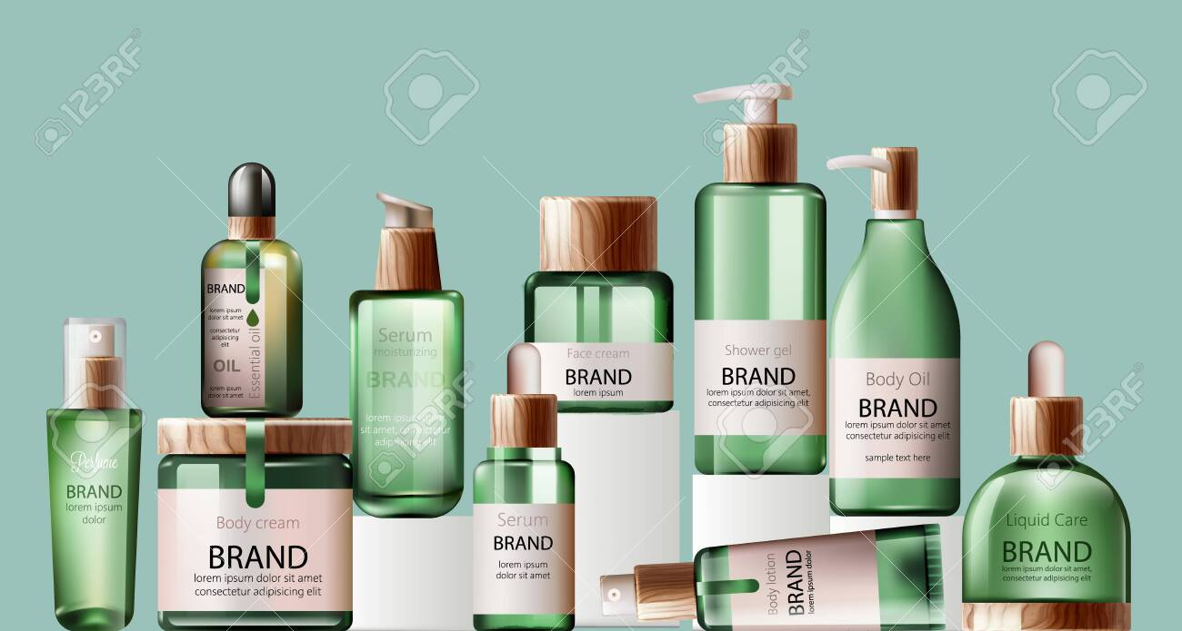 Set of various body care and spa green bottles with wood decoration. - 143039548