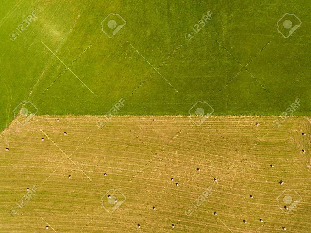 Field With Haystacks In Rural Landscape Top View Stock Photo