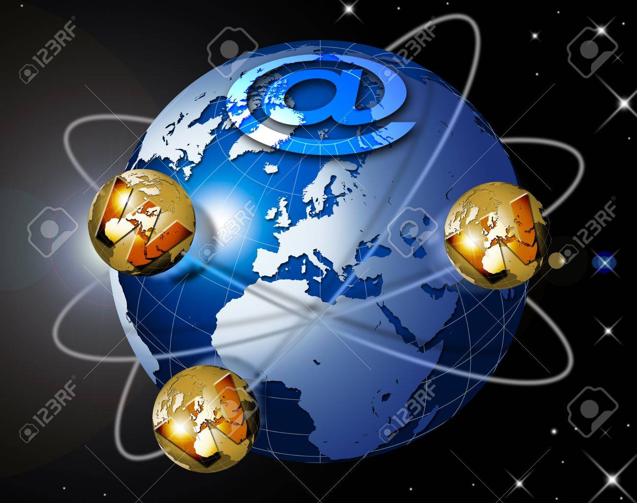 Illustration symbol www and internet with blue terrestrial globe, planets and stars Stock Illustration - 9707436